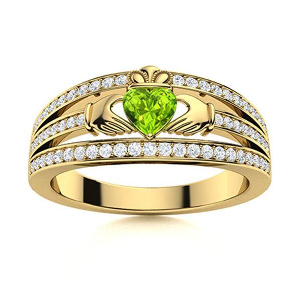 Natural 0.60 CTW Peridot & Diamond Engagement Ring 18K Yellow Gold