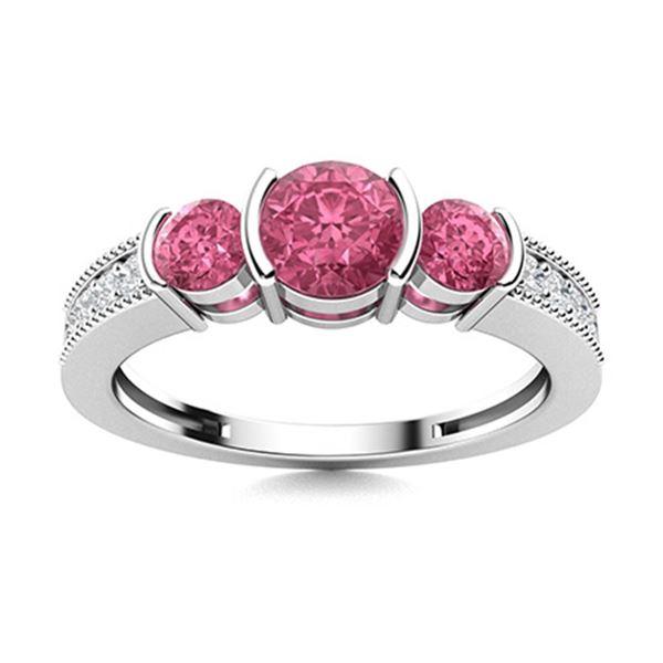 Natural 0.88 CTW Tourmaline & Diamond Engagement Ring 14K White Gold