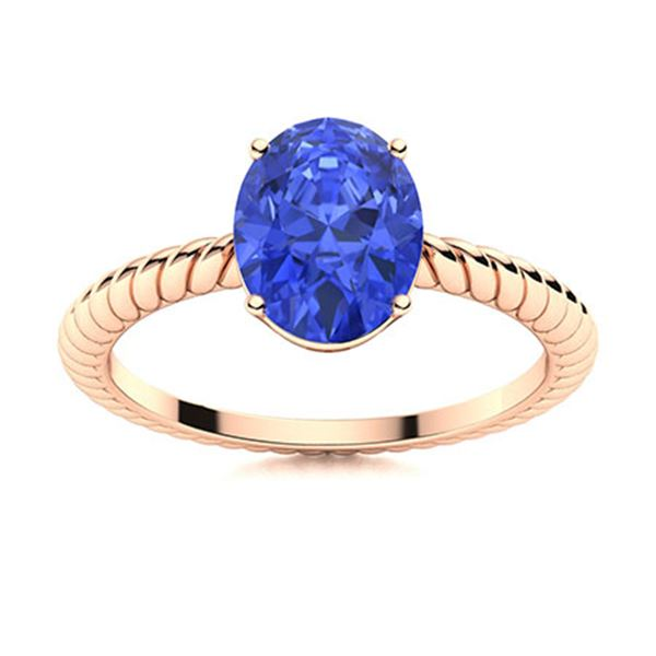 Natural 3.07 CTW Ceylon Sapphire Solitaire Ring 18K Rose Gold