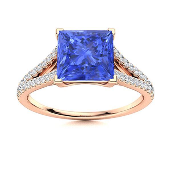 Natural 1.16 CTW Ceylon Sapphire & Diamond Engagement Ring 14K Rose Gold