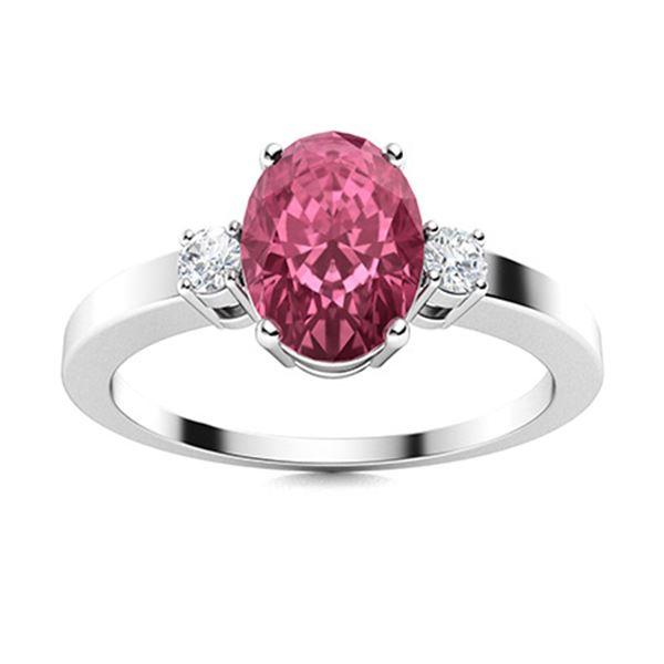Natural 2.73 CTW Tourmaline & Diamond Engagement Ring 18K White Gold