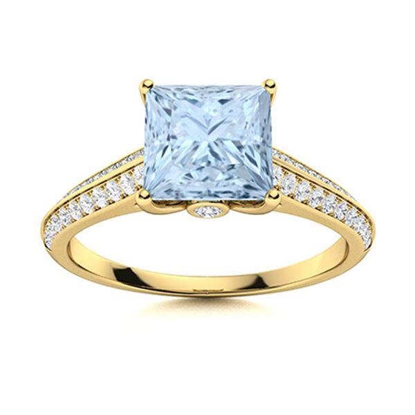 Natural 1.35 CTW Aquamarine & Diamond Engagement Ring 14K Yellow Gold