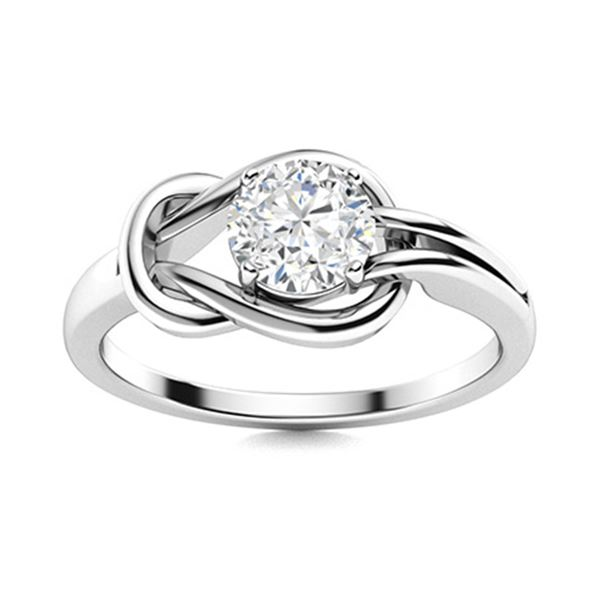 Natural 1.02 CTW Diamond Solitaire Ring 18K White Gold
