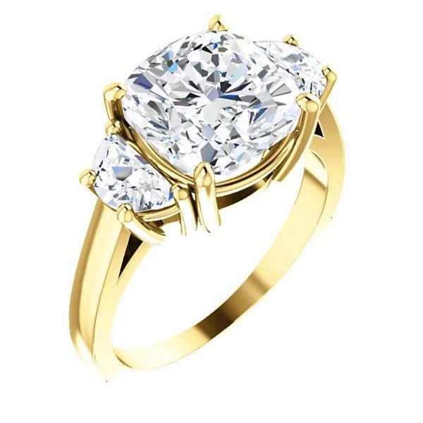 Natural 5.02 CTW 3-stone Cushion Cut & Half Moons Diamond Ring 14KT Yellow Gold