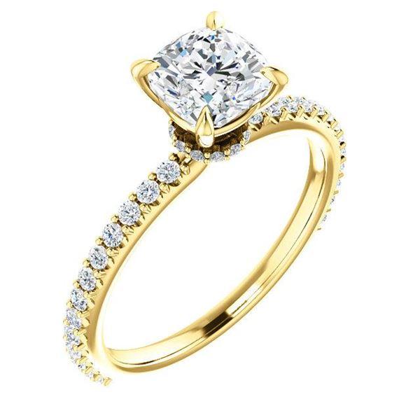 Natural 2.22 CTW Cushion Cut Diamond Engagement Ring 14KT Yellow Gold