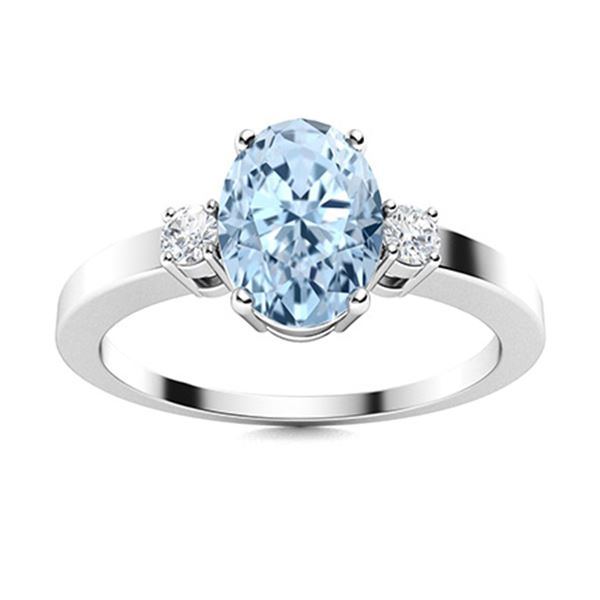Natural 0.97 CTW Aquamarine & Diamond Engagement Ring 18K White Gold