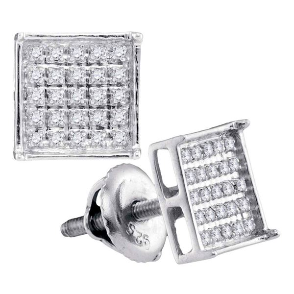 14kt White Gold Womens Round Diamond Square Cluster Earrings 1/6 Cttw
