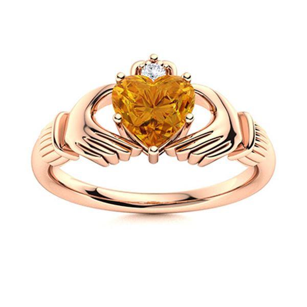 Natural 0.44 CTW Citrine & Diamond Engagement Ring 14K Rose Gold