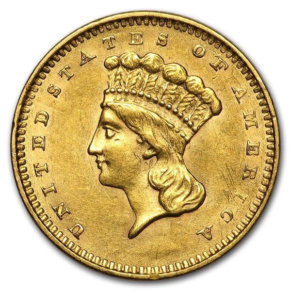 1856 $1 Indian Head Gold Type 3 Slanted 5 AU