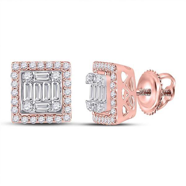 14kt Rose Gold Womens Baguette Diamond Square Cluster Earrings 3/8 Cttw