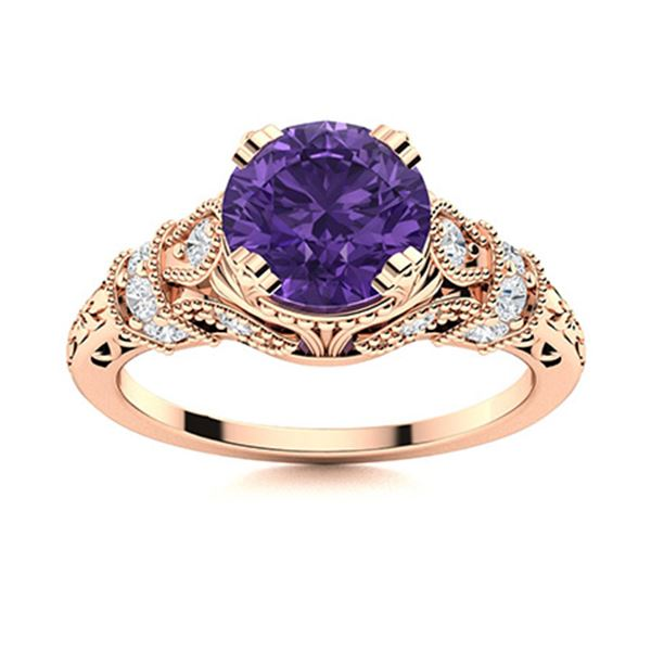 Natural 1.05 CTW Amethyst & Diamond Engagement Ring 14K Rose Gold