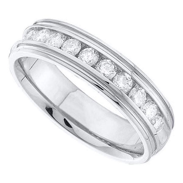 14k White Gold Mens Round Diamond Band Ridged Edge Wedding Band 1/4 Ctw