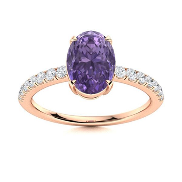 Natural 1.81 CTW Iolite & Diamond Engagement Ring 18K Rose Gold