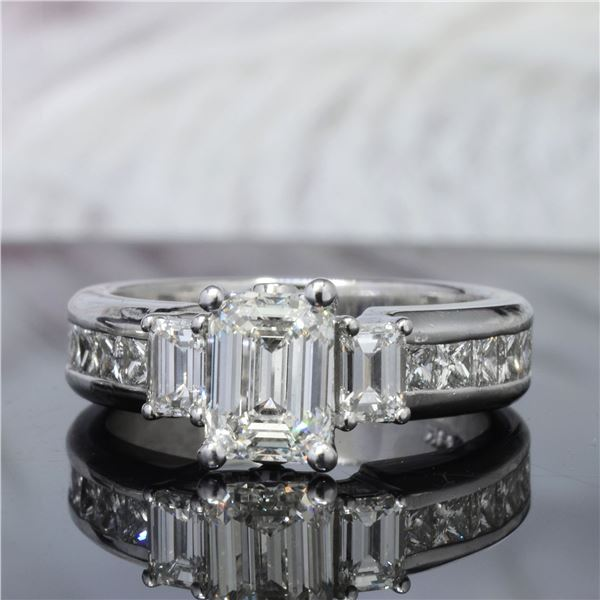 Natural 2.92 CTW Emerald Cut Diamond Engagement Ring 18KT White Gold