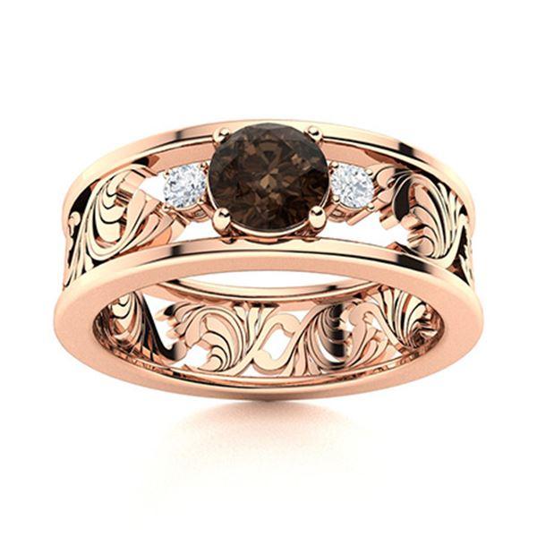 Natural 0.47 CTW Smoky Quartz & Diamond Engagement Ring 14K Rose Gold
