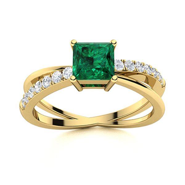 Natural 0.87 CTW Emerald & Diamond Engagement Ring 18K Yellow Gold