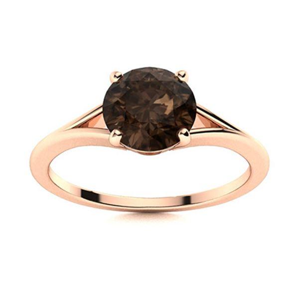 Natural 0.71 CTW Smoky Quartz Solitaire Ring 14K Rose Gold