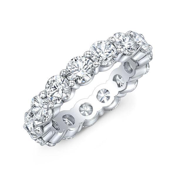 Natural 7.02 CTW Round Diamond Eternity Ring 18KT White Gold