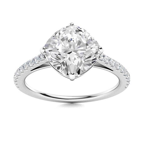Natural 2.96 CTW Diamond Solitaire Ring 14K White Gold