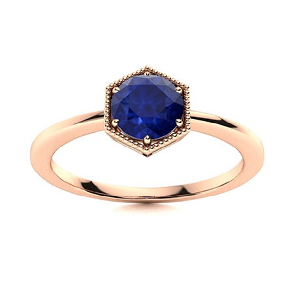 Natural 0.52 CTW Sapphire Solitaire Ring 18K Rose Gold
