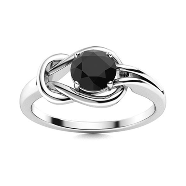 Natural 0.72 CTW Onyx Solitaire Ring 18K White Gold