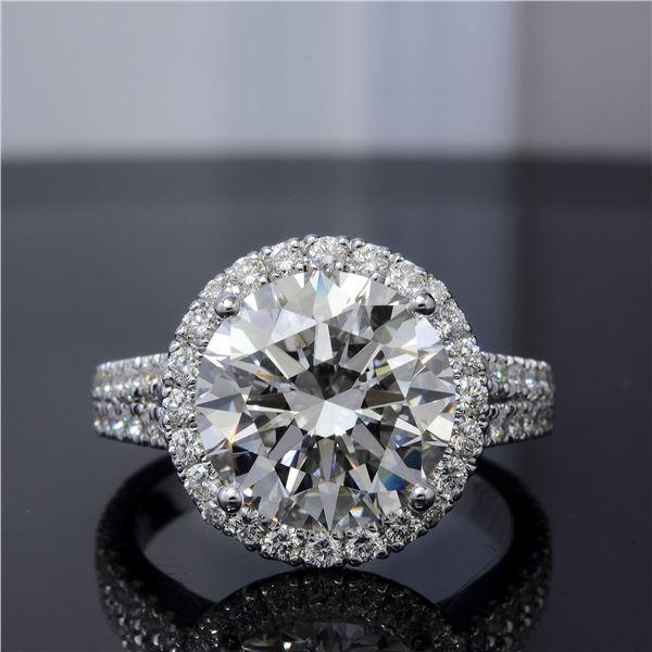 Natural 5.92 CTW Halo Split Shank Round Cut Diamond Engagement Ring 14KT White Gold