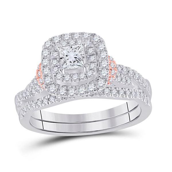 14kt Two-tone Gold Princess Diamond Bridal Wedding Ring Band Set 1 Cttw
