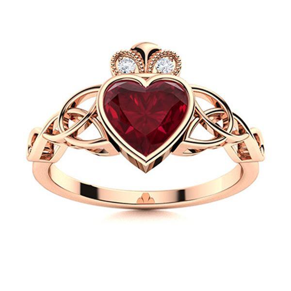Natural 0.60 CTW Ruby & Diamond Engagement Ring 14K Rose Gold