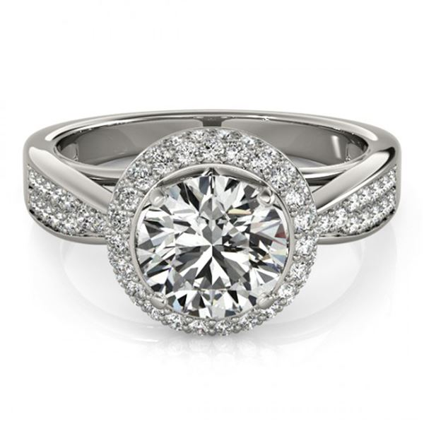 Natural 2.15 ctw Diamond Solitaire Halo Ring 14k White Gold
