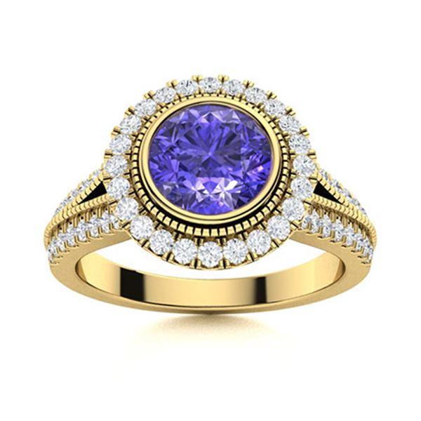 Natural 1.79 CTW Tanzanite & Diamond Engagement Ring 18K Yellow Gold