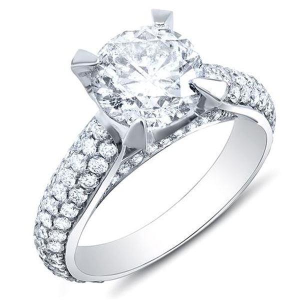 Natural 3.02 CTW Round Brilliant Cut Lush Diamond Engagement Ring 18KT White Gold