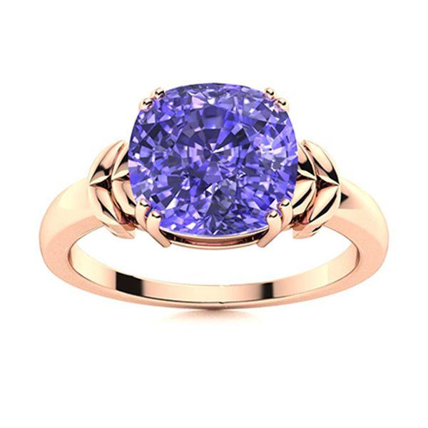 Natural 2.87 CTW Tanzanite Solitaire Ring 14K Rose Gold