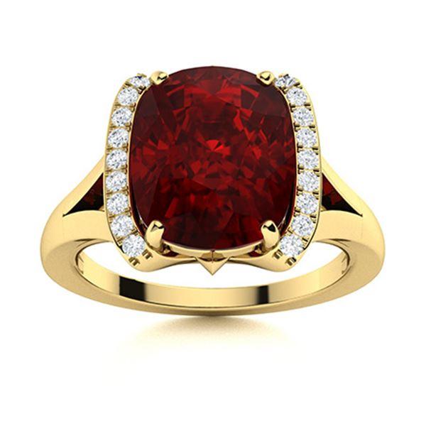 Natural 3.19 CTW Garnet & Diamond Engagement Ring 18K Yellow Gold
