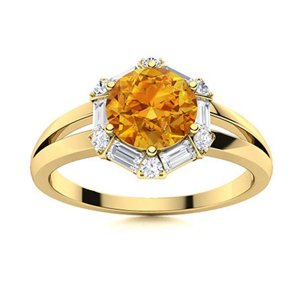 Natural 1.35 CTW Citrine & Diamond Engagement Ring 14K Yellow Gold