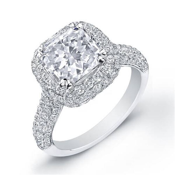 Natural 4.2 CTW Radiant Cut Diamond Engagement Ring 14KT White Gold