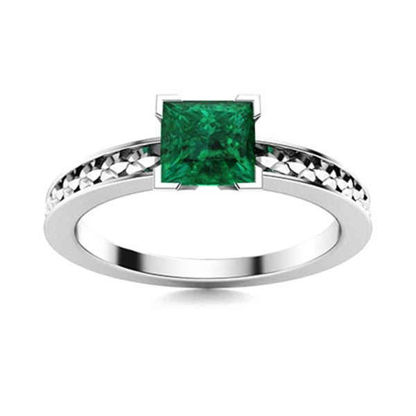 Natural 1.12 CTW Emerald Solitaire Ring 18K White Gold
