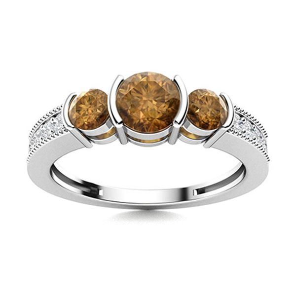 Natural 1.02 CTW Brown & White Diamond Engagement Ring 14K White Gold