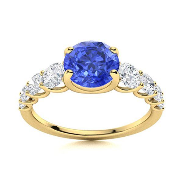 Natural 2.04 CTW Ceylon Sapphire & Diamond Engagement Ring 18K Yellow Gold