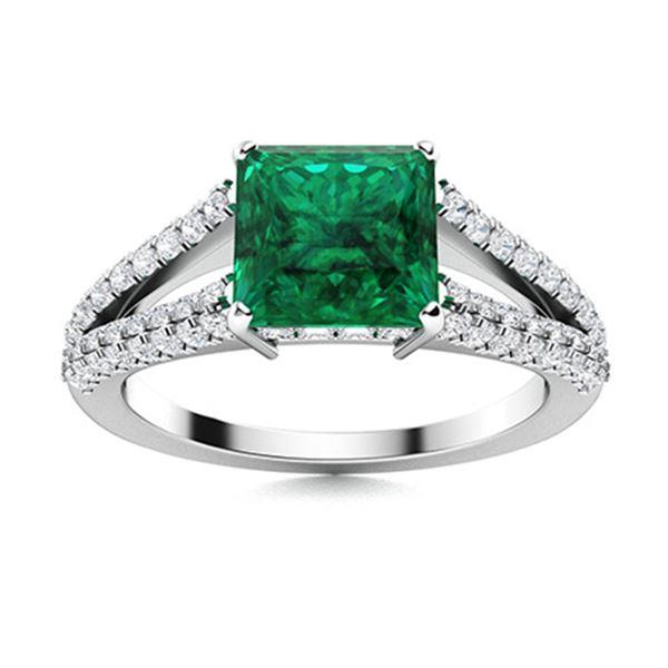 Natural 1.55 CTW Emerald & Diamond Engagement Ring 14K White Gold