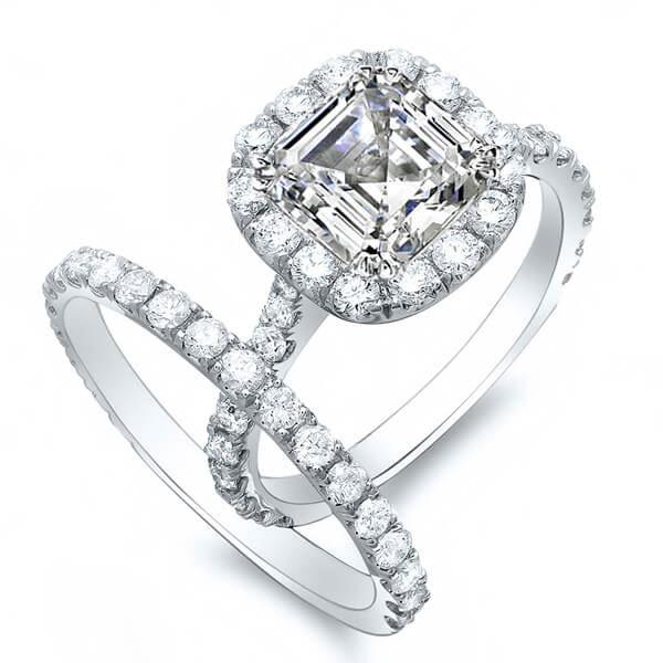 Natural 2.32 CTW Halo Asscher Cut Diamond Engagement Set 14KT White Gold