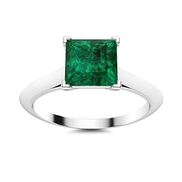 Natural 1.11 CTW Emerald Solitaire Ring 14K White Gold