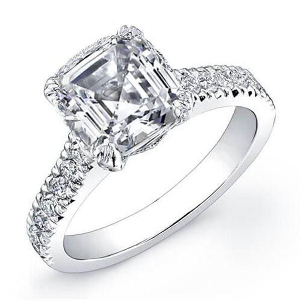 Natural 2.48 CTW Asscher Cut Diamond Engagement Ring 14KT White Gold