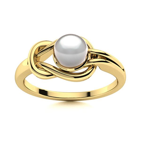 Natural 1.02 CTW Pearl Solitaire Ring 14K Yellow Gold
