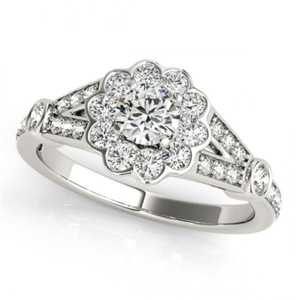 Natural 1.4 ctw Diamond Solitaire Halo Ring 14k White Gold
