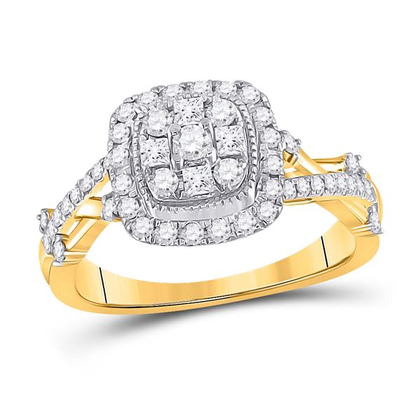 14kt Yellow Gold Round Diamond Cluster Bridal Wedding Engagement Ring 5/8 Cttw