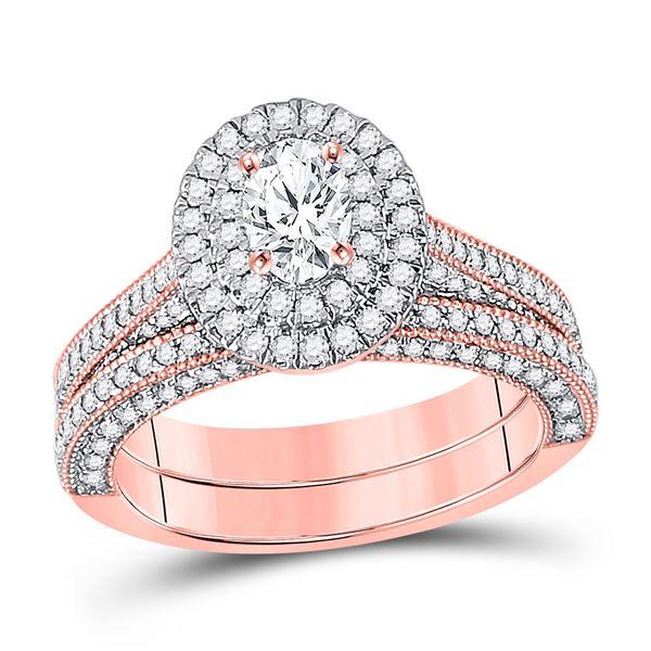 14kt Rose Gold Oval Diamond Bridal Wedding Ring Band Set 1-5/8 Cttw