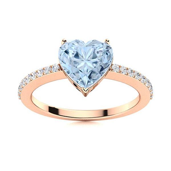 Natural 0.66 CTW Aquamarine & Diamond  Engagement Ring 14K Rose Gold