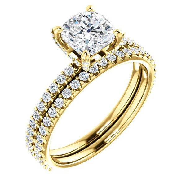 Natural 2.22 CTW Under-Halo Cushion Cut Diamond Ring 18KT Yellow Gold