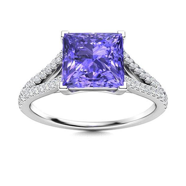 Natural 1.32 CTW Tanzanite & Diamond Engagement Ring 14K White Gold