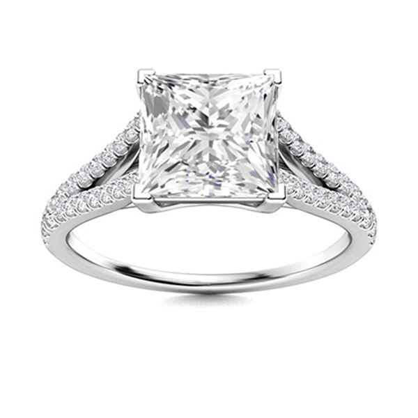 Natural 1.82 CTW Diamond Solitaire Ring 18K White Gold